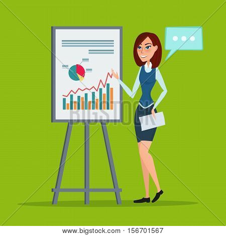 Business woman giving a presentation speech showing marketing and sales data. Vector creative color illustrations flat design in flat modern style.