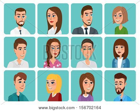 Men and women business and casual clothes icons. Business people flat avatars. Vector creative color illustrations flat design in flat modern style.