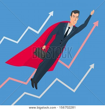 Businessman in a suit superhero flies up above line chart. Vector creative color illustrations flat design in flat modern style.