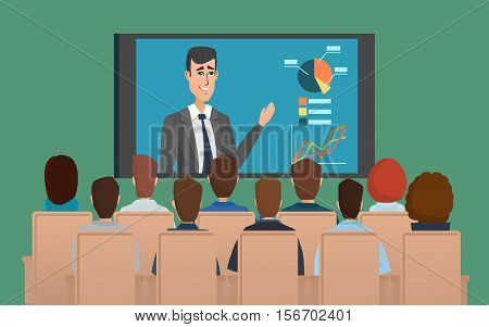 Corporation directors board at the conference call meeting with CEO at the video call projection screen. Vector creative color illustrations flat design in flat modern style.