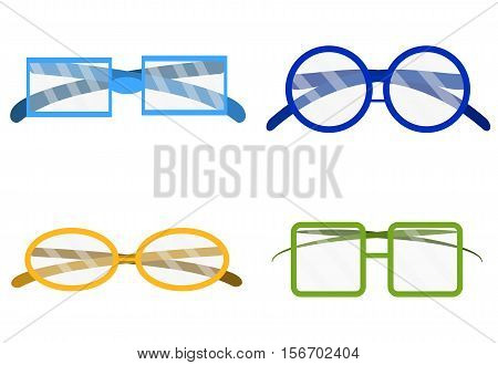 Glasses set transparent. Eyeglasses isolated. Reading glasses illustration vector