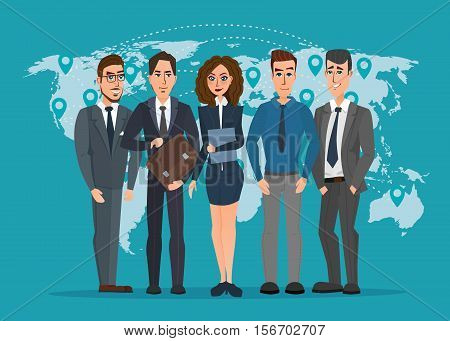 Leader and a team. Group of men and women politicians. leadership or global business concept. transnational corporate structure. Vector creative color illustrations flat design in flat modern style.