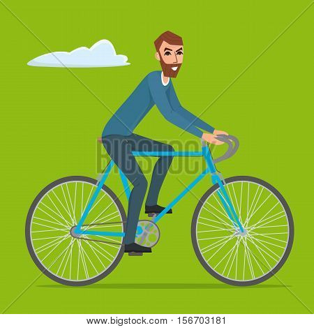 Bicyclist rider hipster man with bike bicycle Vector creative color illustrations flat design in flat modern style.