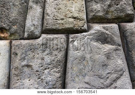 Detail of an ancient Inca wall in Sacsayhuaman near Cusco in Peru South America
