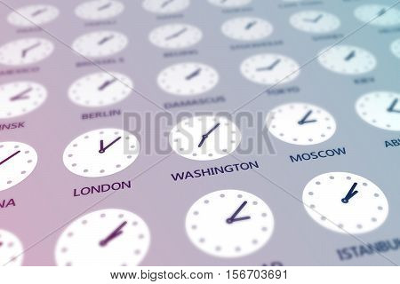 Round clocks are showing different time for different cities around the world. Different time and uniform geopolitical issues concept. Tinted effect