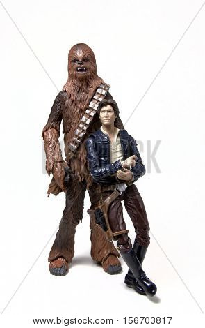 Portrait of Star Wars Han Solo and Chewbacca the Wookiee posing for camera - Hasbro 6 inch Black Series action figures