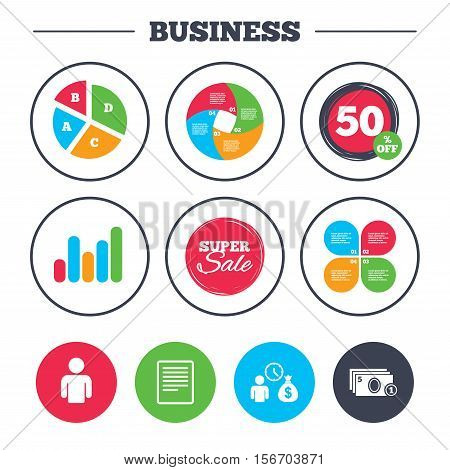 Business pie chart. Growth graph. Bank loans icons. Cash money bag symbol. Apply for credit sign. Fill document and get cash money. Super sale and discount buttons. Vector