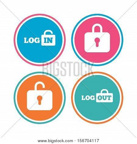 Login and Logout icons. Sign in or Sign out symbols. Lock icon. Colored circle buttons. Vector
