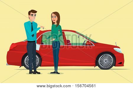 Car Showroom. Manager sells and woman buying a new car. Vector creative color illustrations flat design in flat modern style.