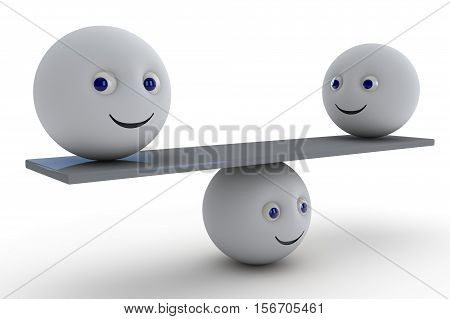 ball shaped smiley symbol keep the balance. 3d render