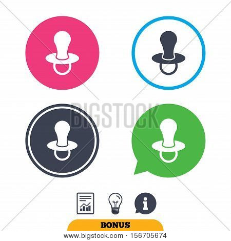 Baby's dummy sign icon. Child pacifier symbol. Report document, information sign and light bulb icons. Vector