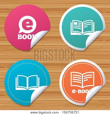 Round stickers or website banners. Electronic book icons. E-Book symbols. Speech bubble sign. Circle badges with bended corner. Vector