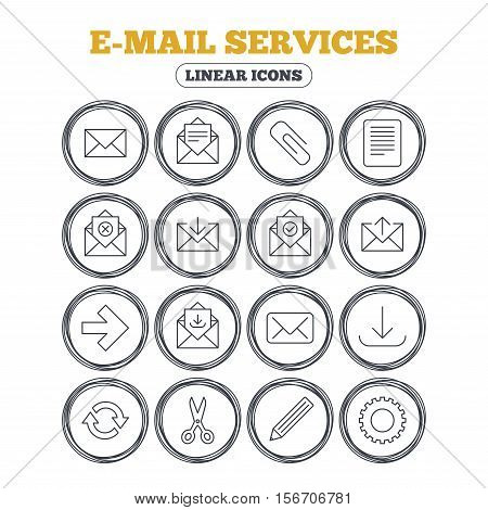 Mail services icons. Send mail, paper clip and download arrow symbols. Scissors, pencil and refresh thin outline signs. Receive, select and delete mail. Circle flat buttons with linear icons. Vector