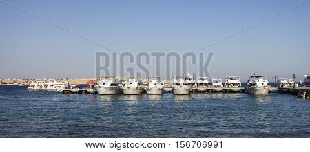 row of ships in red sea, Sharm El Sheikh, Sinai, Egypt