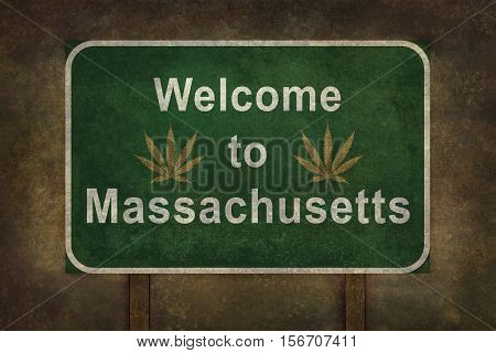 Welcome to Massachusetts with cannabis leaf road sign illustration with distressed foreboding background