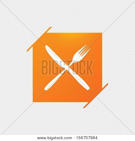 Eat sign icon. Cutlery symbol. Fork and knife crosswise. Orange square label on pattern. Vector