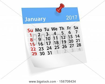 Monthly pinned note calendar for January 2017. 3d illustration