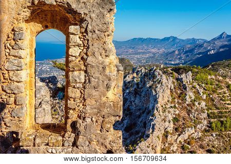 View of Kyrenia from St Hilarion Castle. Kyrenia District Cyprus.
