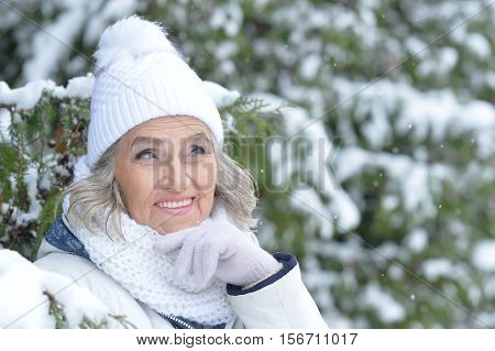 Portrait of smiling senior woman in a snow-covered winter park looking at the distance