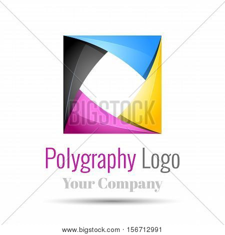 Vector business template with CMYK icon Volume Logo Colorful. 3d Vector Design. Corporate identity