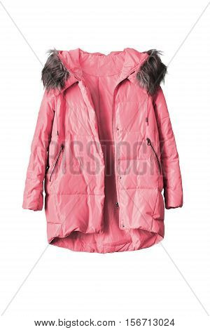 Pink warm anorak isolated over white background