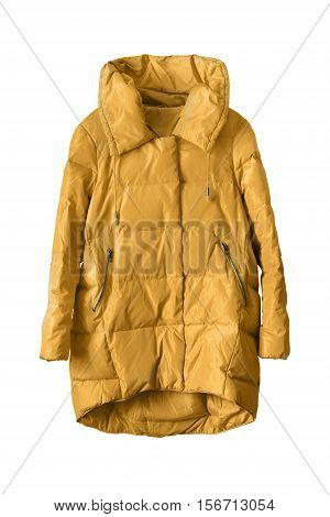 Yellow casual down jacket isolated over white
