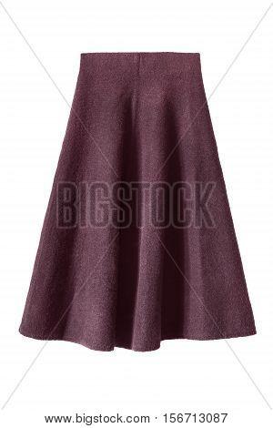 Wool flared knee length skirt isolated over white