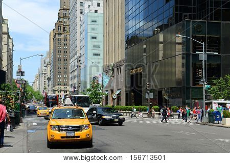 NEW YORK CITY - MAY 26, 2014: Fifth Avenue near Trump Tower in midtown Manhattan, New York City, USA.