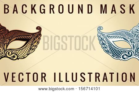 Beautiful banner mask of lace. Mardi Gras vector background. Gold and black masquerade mask. Venetian carnival mask. Vintage unique luxury pattern