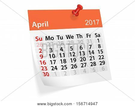 Monthly pinned note calendar for April 2017. 3d illustration