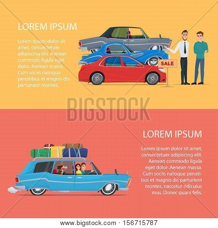 Buying a car for the family. Cartoon poster vector illustration. Banners for your web design in business style. Template for your text. Business characters set.