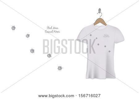 Bullet holes t-shirt print design. Vector template. Steel man casual wear.