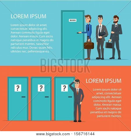 Businessman is confusing about tree doors. Cartoon poster vector illustration. Banners for your web design in business style. Template for your text. Business characters set.