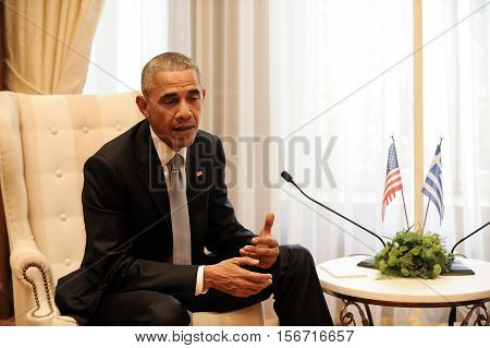 U.s. President Barack Obama  With The Greek Prime Minister Alexis Tsipras