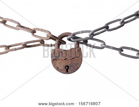 Metal chain and lock on the white background