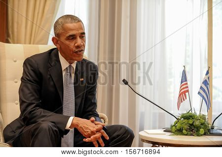 Athens Greece November 15 2016: U.S. President Barack Obama during of meeting with the Greek Prime Minister Alexis Tsipras with at Maximos Mansion in Athens