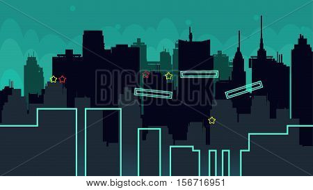 Seamless cartoon night city landscape, vector unending background with road, buildings and sky layers