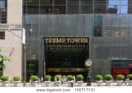 NEW YORK CITY - MAY 26, 2014: Trump Tower Main Entrance on Fifth Avenue in midtown Manhattan, New York City, USA.