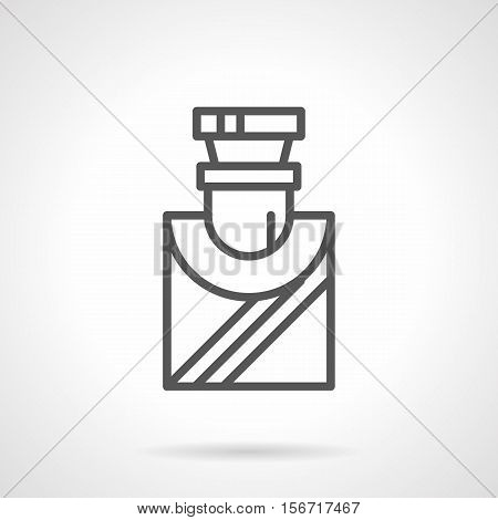 Elegant glass bottle with liquid. Mens perfumery and cosmetic. Selling of cologne, perfume, toilet water, aftershave lotion. Single black simple line style design vector icon.