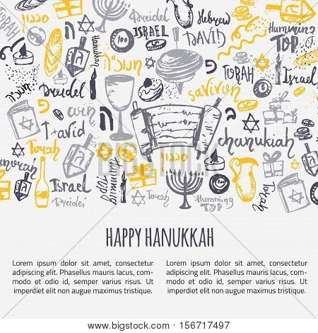 Happy Hanukkah greeting card with hand drawn elements and lettering. Menorah, Dreidel, candle, hebrew star for your design