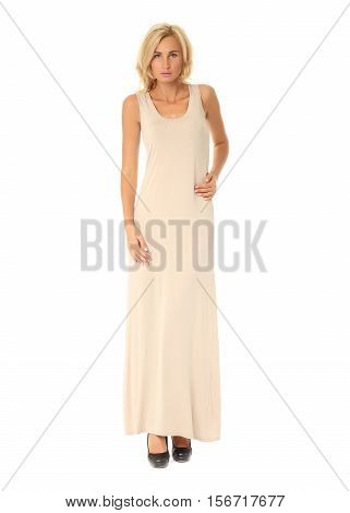 Full Length Of Flirtatious Woman In Maxi Dress Isolated On White