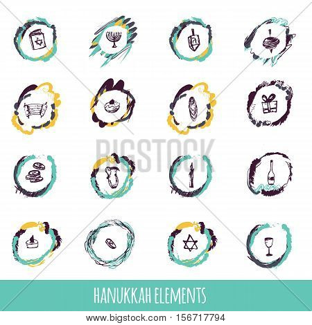 Hanukkah icons big set in hand drawn style including menorah, star, dreidel, torah, donut, gift. can be used for wrapping, banners, greeeting cards
