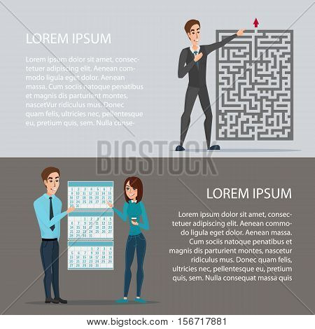 Out of the difficult task of tenure of deadline. Cartoon poster vector illustration. Banners for your web design in business style. Template for your text. Business characters set.
