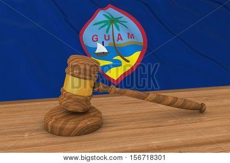 Guamanian Law Concept - Flag Of Guam Behind Judge's Gavel 3D Illustration