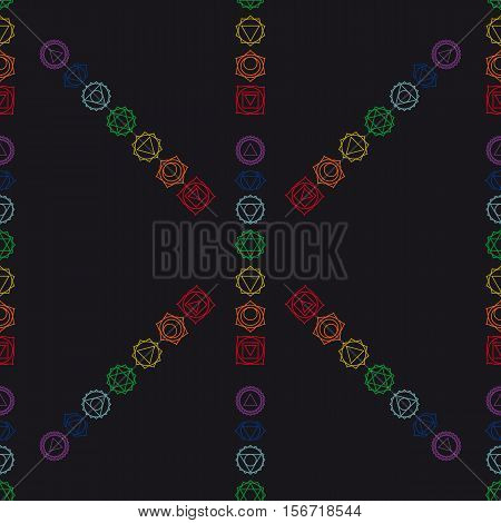abstract geometric background seven human chakras vector seamless pattern illustration.