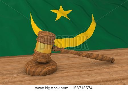 Mauritanian Law Concept - Flag Of Mauritania Behind Judge's Gavel 3D Illustration
