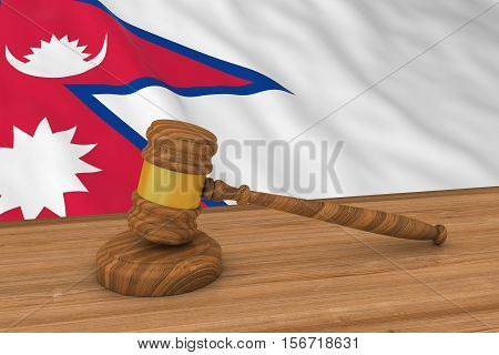 Nepalese Law Concept - Flag Of Nepal Behind Judge's Gavel 3D Illustration