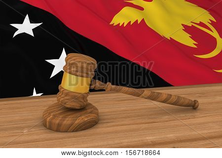 Papua New Guinean Law Concept - Flag Of Papua New Guinea Behind Judge's Gavel 3D Illustration