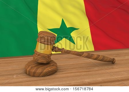 Senegalese Law Concept - Flag Of Senegal Behind Judge's Gavel 3D Illustration