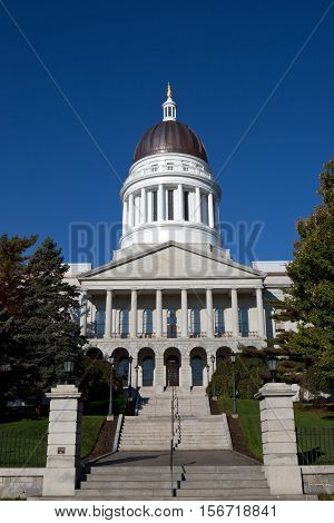 Maine State House Capitol building is located in Augusta ME USA.